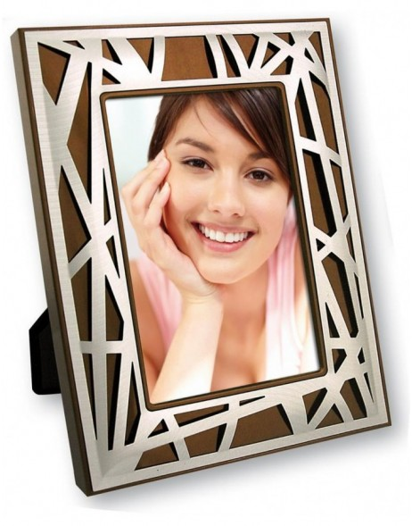 10x15 cm Photo frame MARTA made of metal in brown