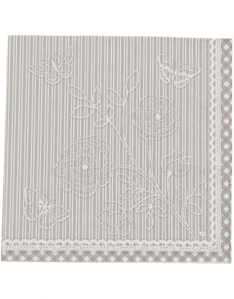 20 Papierservietten 33x33 grau Stripes and Butterflies