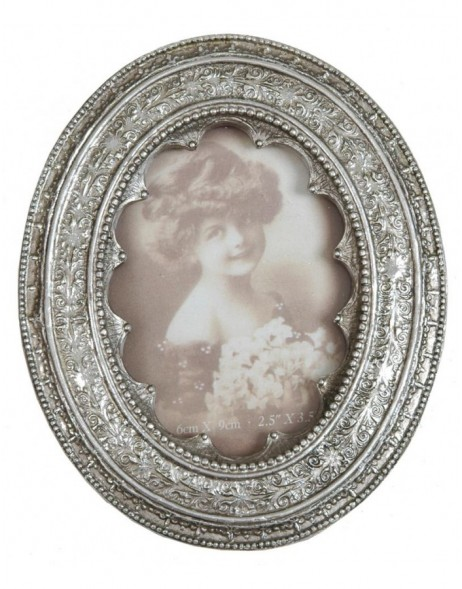 2764 antique silver frame Baroque 6x9 Oval