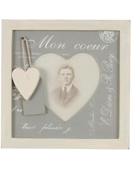 2806G Antique frame with heart application 9x10 cm