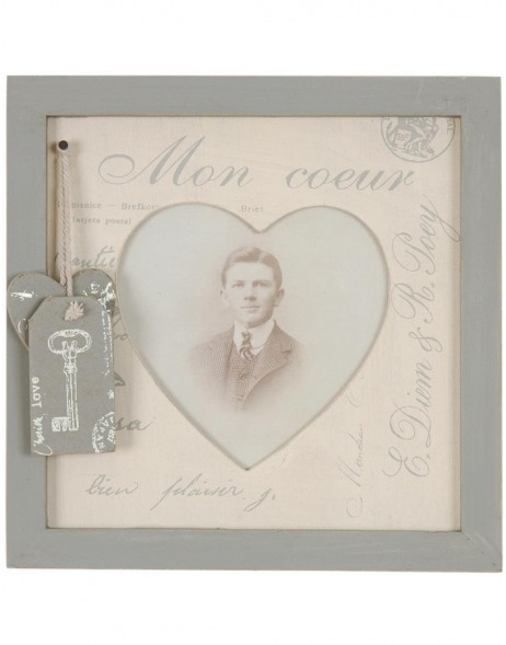 2806N Antique frame with heart application 9x10 cm