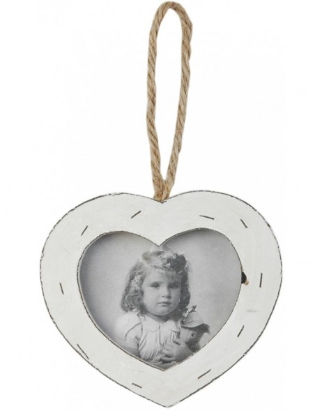 2849 antique wooden frame 8x9 cm white heart