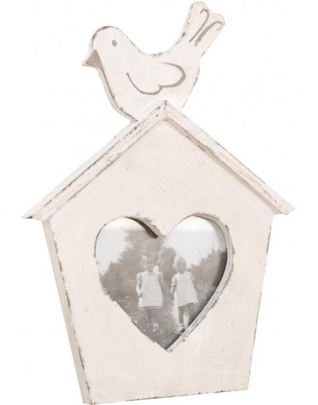 2890W antique wood frame house with heart 8x10 cm