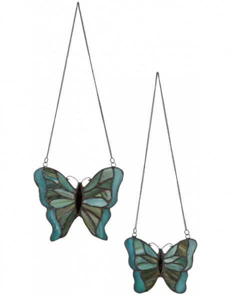 2er Set Tiffany Glasscheiben Schmetterling III