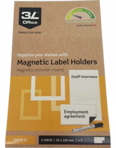 3L Label Holders magnetic with insert 35x102mm