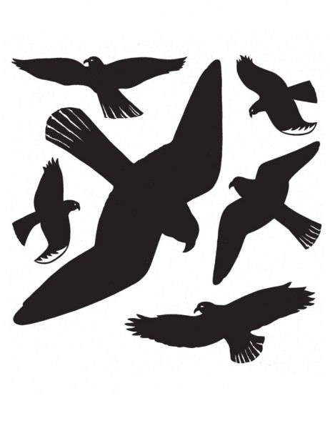 Warning birds 30x30cm black 1 sheet