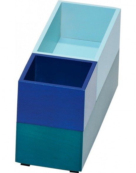 set of 3 storage boxes MONTPELLIER navy/sky blue