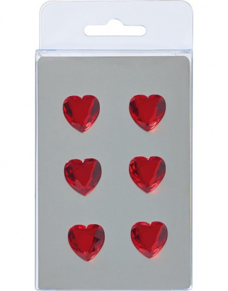 HEARTS magnets 6 pieces red
