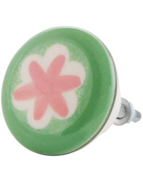63084 Clayre Eef doorknob Ø 4 cm green with flower