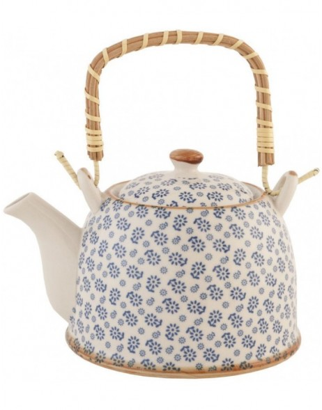 6CETE0022teapot white/blue by Clayre Eef