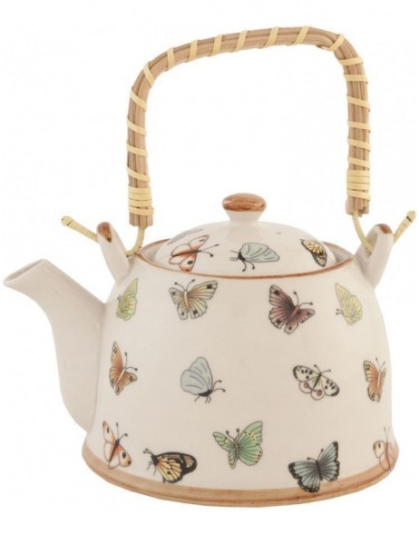 6CETE0025teapot natural/butterfly by Clayre Eef