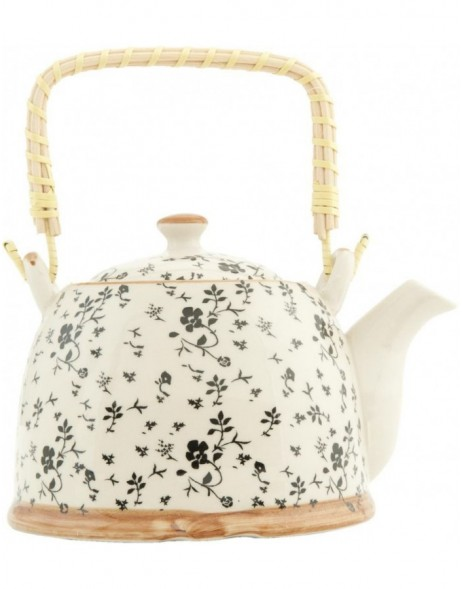 6CETE0027teapot white/black by Clayre Eef