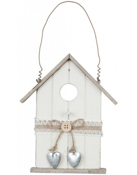 6H0523 Clayre Eef - Birdhouse decoration white