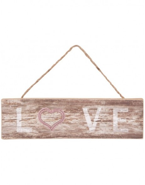 6H0703 Clayre Eef - LOVE wall decoration brown