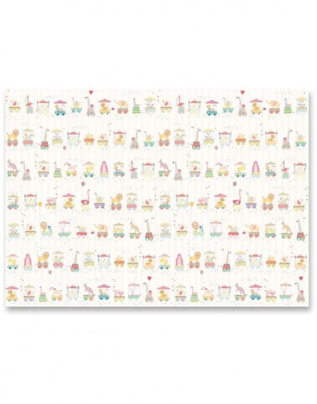 ANIMAL TRAIN PINK wrapping paper 50x70 cm