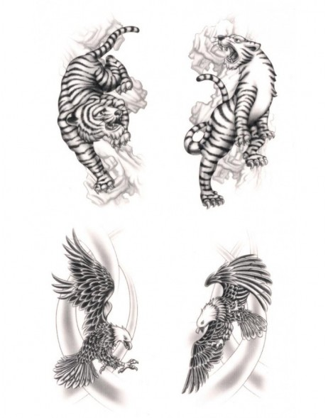 Tattoos Eagle & Tiger, waterproof,  Black Art Classic