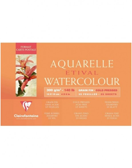 Watercolor paper 10x15 cm postcard size, 25 sheets, 300g