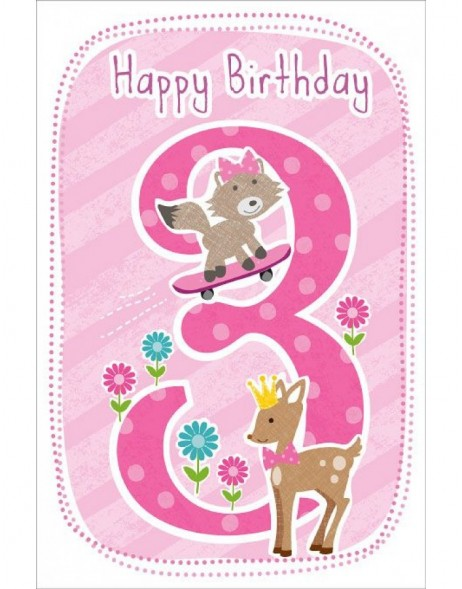 Artebene Karte Happy Birthday Kids 3 Jahre rose
