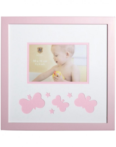 baby photo frame 25x25 cm pink