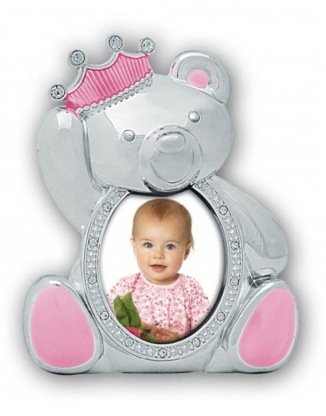 baby picture frame PRINCESS silver/pink