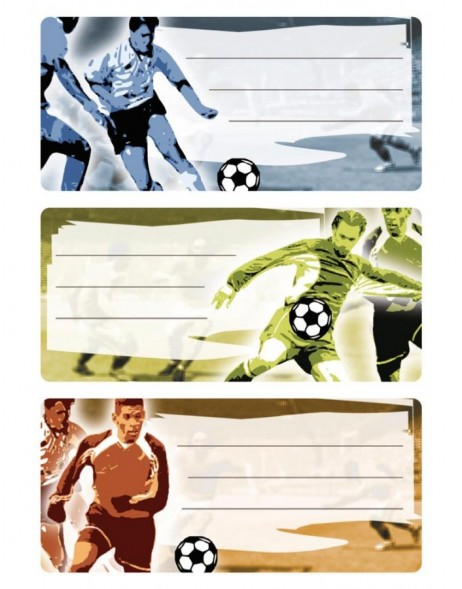 Book labels  76x35 mm football 3 sheets