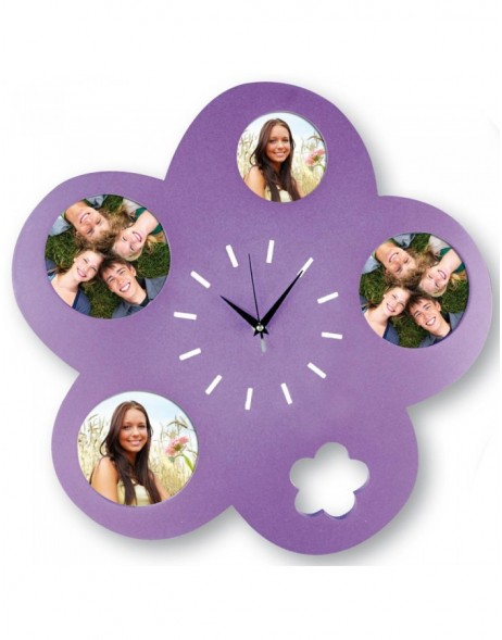 Picture clock Orleans 37x37 cm for 4 photos