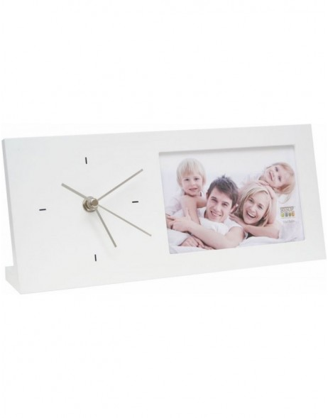 Picture frame with clock white - Photo 10x15 cm