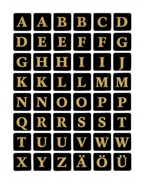 Letters 13x13mm A-Z film black gold embossed  2 sheets