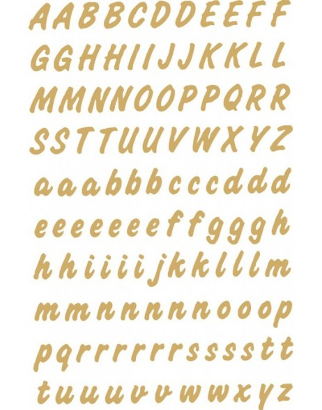 Letters 8mm A-Z weatherproof film transparent gold 2 sheets