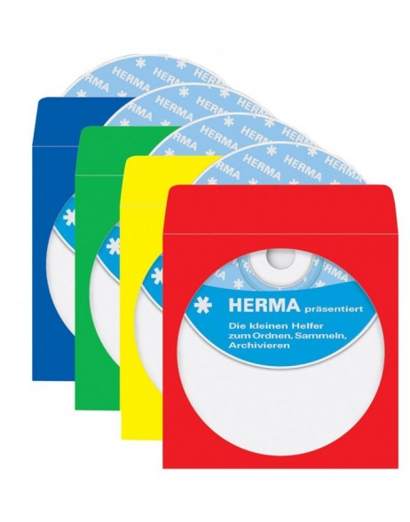 CD/DVD-pockets, 124x124 mm, colours assorted, 100 pockets