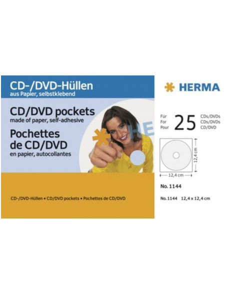 CD paper pockets, white, with adhesive, 124x124 25 pockets