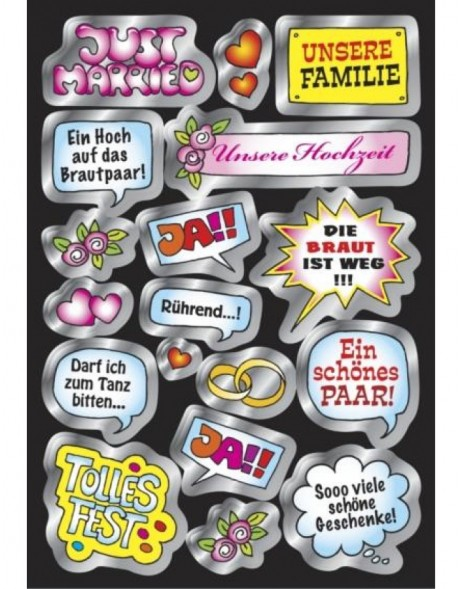 Creative speech balloons Wedding - silver embossing