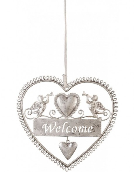pendant Welcome - silver 14x15 cm