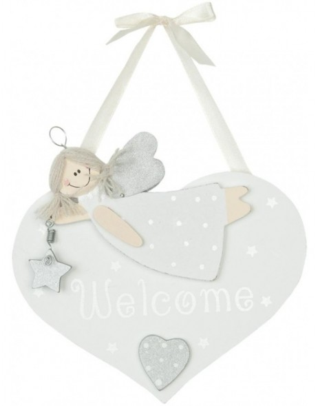 deco heart white - 6H0857 Clayre Eef