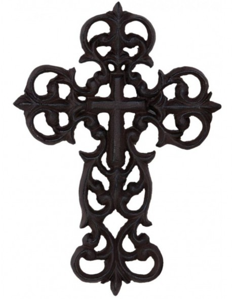 deco cross brown - 6Y1803 Clayre Eef