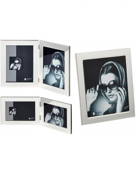 silvered Emily photo frame and double frame