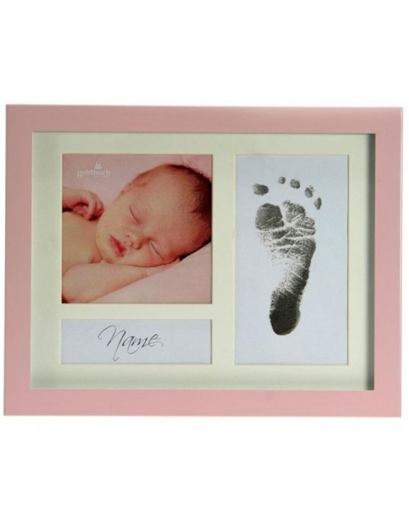 baby photo frame FIRST STEPS pink