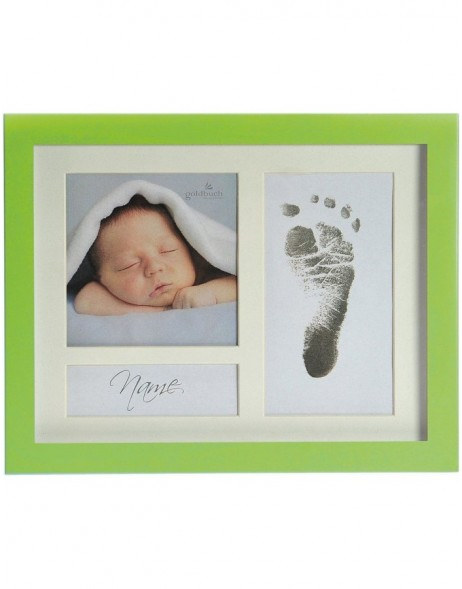 FIRST STEPS baby photo frame green