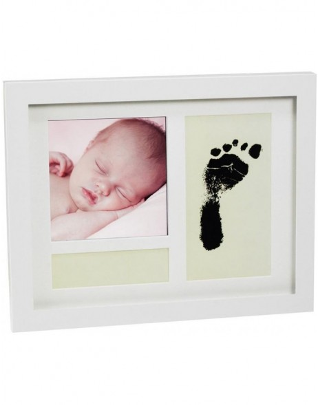 FIRST STEPS baby photo frame white