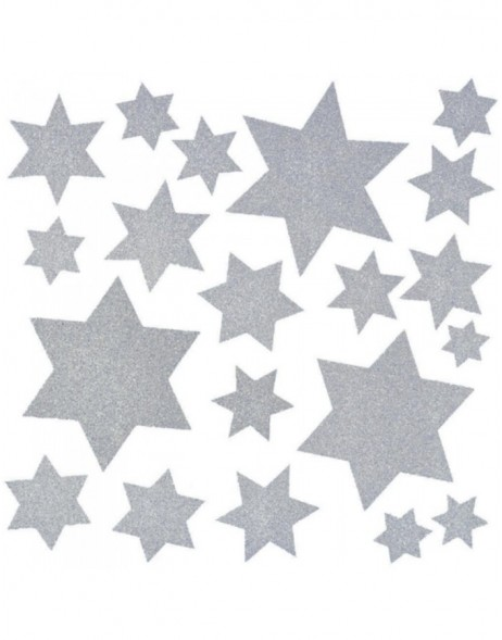 Window-decoration 30x30cm Christmas stars silber 1 pcs.