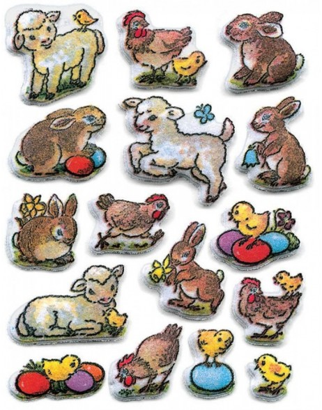 decorative labels MAGIC Ostern Puffy Lämmchen 1 sheet
