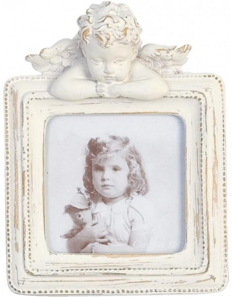 Photo frame 5 x 5 cm squared white with angel