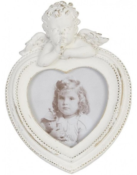 Photo frame 5 x 5 cm heart-shaped with angels