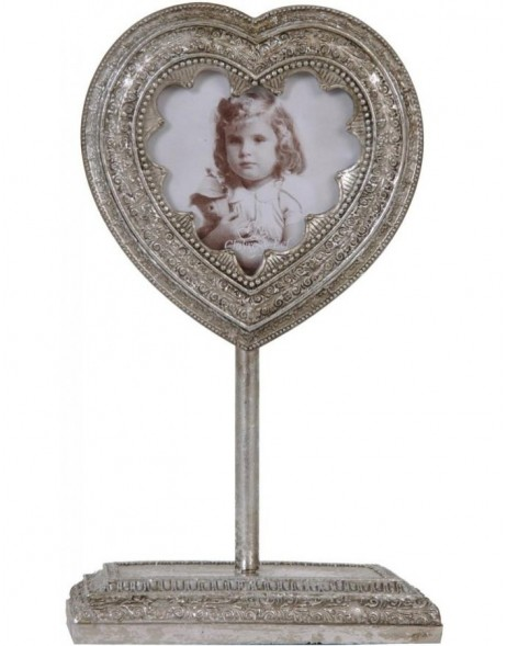 Photo frame 8x8 cm heart stand