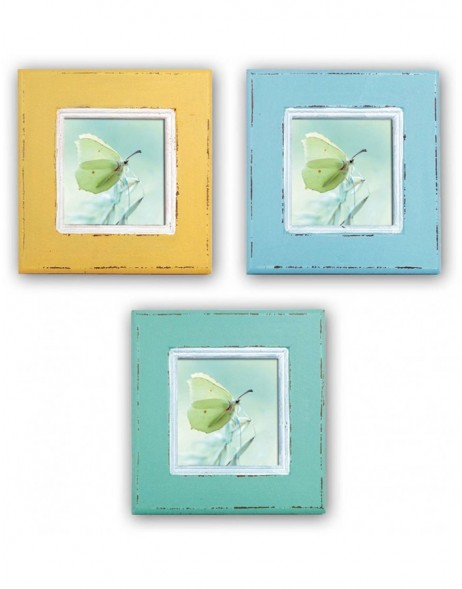 Photo frame Orthez 10x10 cm yellow, blue and turquoise