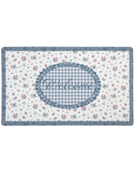 Fußabstreicher WELCOME Blumendesign blau 74x44 cm