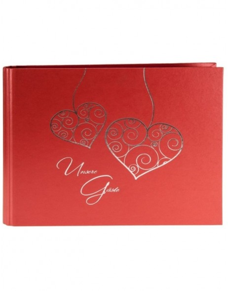 Guestbook for wedding TWO HEARTS in red