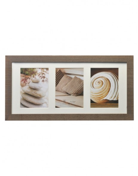Gallery frame Driftwood 3 photos 13x18 cm brown