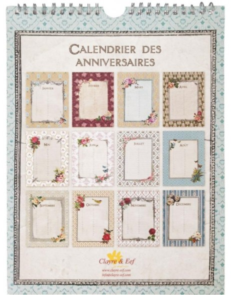 birthday calendar with ornaments French