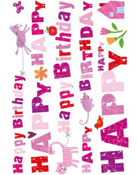 Geburtstagskarte Happy Birthday Typo pink